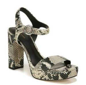 Via Spiga Saville Snakeskin Embossed Leather Heels